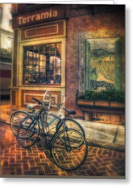 Vintage Bicycles On Sidewalk Corner - Boston North End Greeting Card