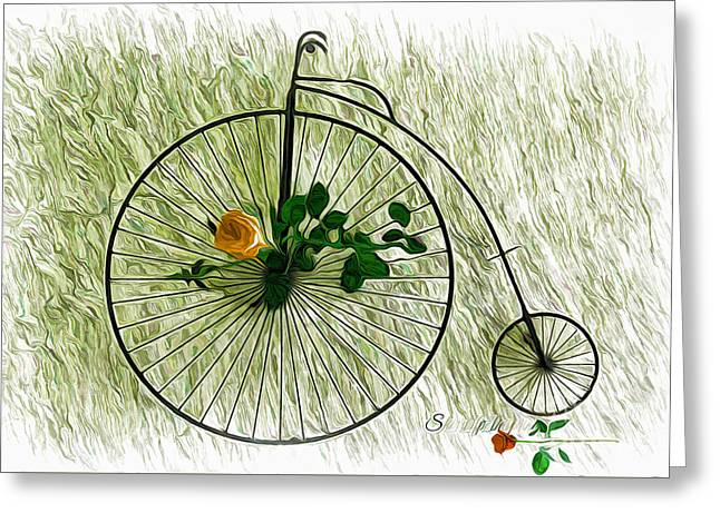 Vintage Bike And Rose Greeting Card