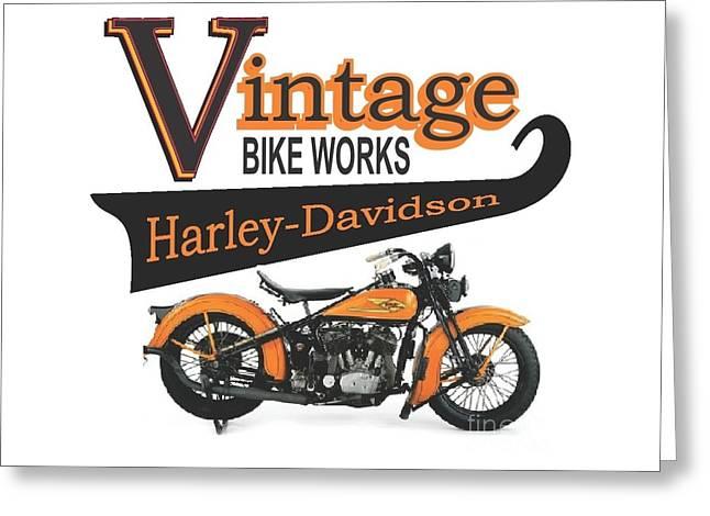 Vintage Bike Works 1934 Harley Davidson Vld Greeting Card by Robert Morrissey