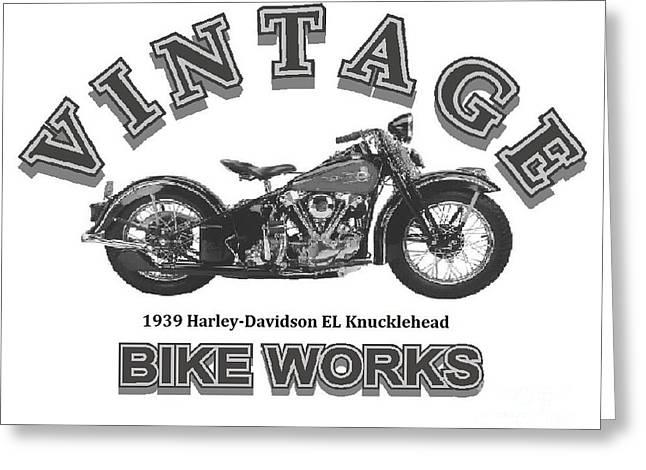 Vintage Bike Works 1939 Harley Davidson El Knucklehead Greeting Card by Robert Morrissey