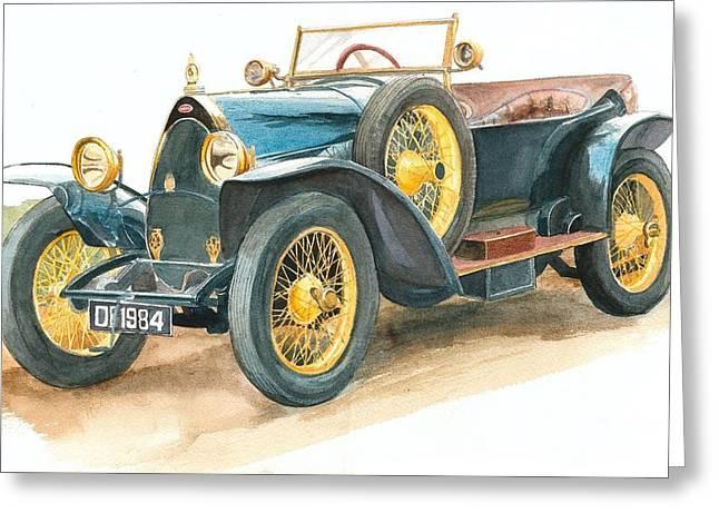 Vintage Blue Bugatti Classic Car Greeting Card
