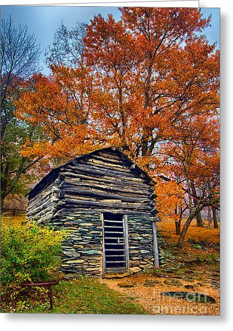 Vintage Blue Ridge Parkway Cabin In Autumn Greeting Card by Dan Carmichael