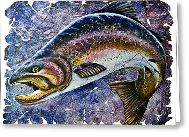 Vintage Blue Trout Fresco  Greeting Card