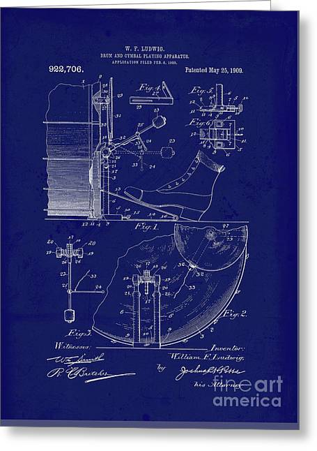 Vintage Blueprint, Drum And Cymbal Playing Apparatus Greeting Card by Tina Lavoie