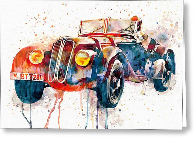 Vintage Bmw Watercolor Greeting Card by Marian Voicu