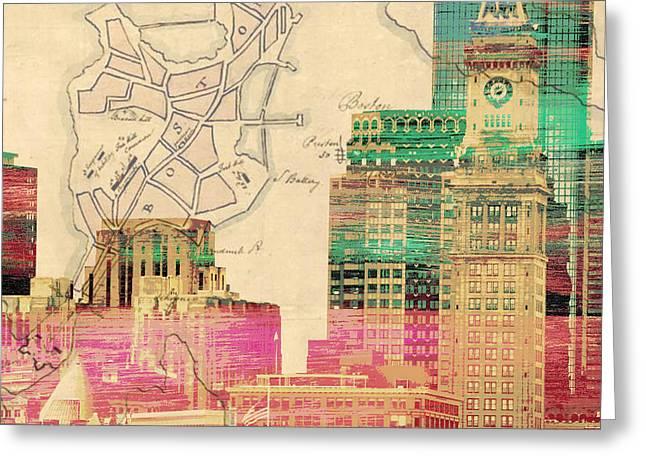 Vintage Boston Skyline Greeting Card by Brandi Fitzgerald