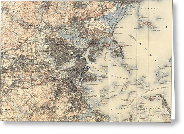 Vintage Boston Transit Line Map - 1914 Greeting Card by CartographyAssociates
