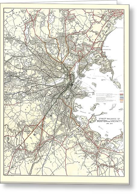 Vintage Boston Transit Line Map  Greeting Card by CartographyAssociates