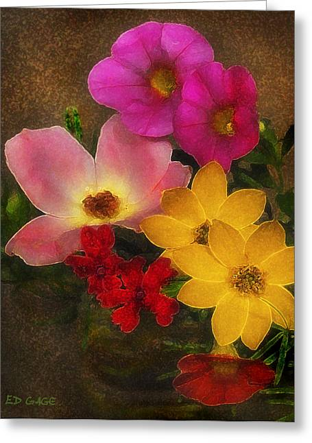 Vintage Bouquet Greeting Card by Ed Gage