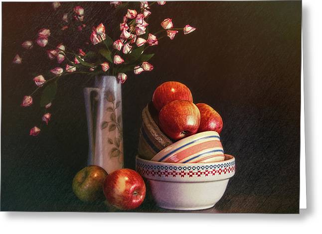 Vintage Bowls With Apples Greeting Card