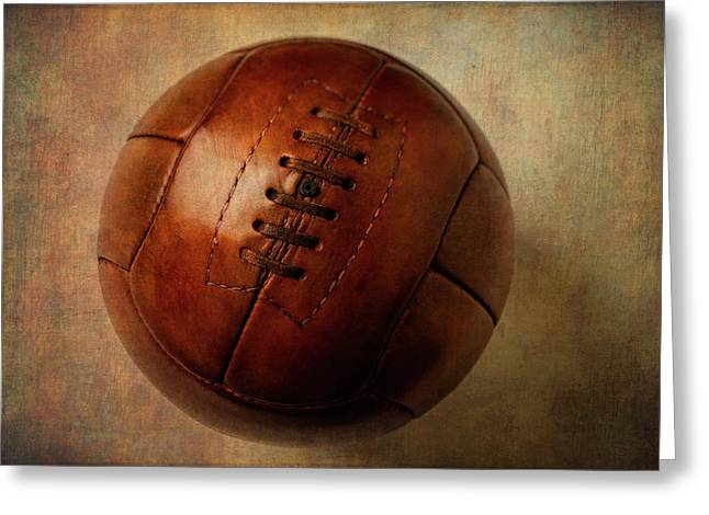 Vintage Brown Soccer Football Greeting Card