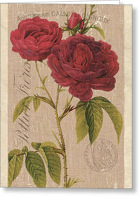 Vintage Burlap Floral 3 Greeting Card