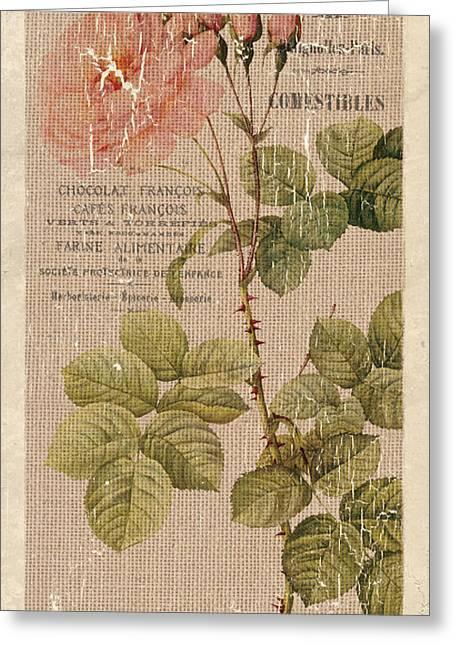 Vintage Burlap Floral 4 Greeting Card by Debbie DeWitt