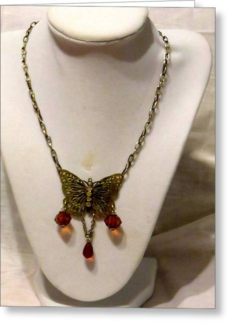 Vintage Butterfly Dreams Necklace Greeting Card