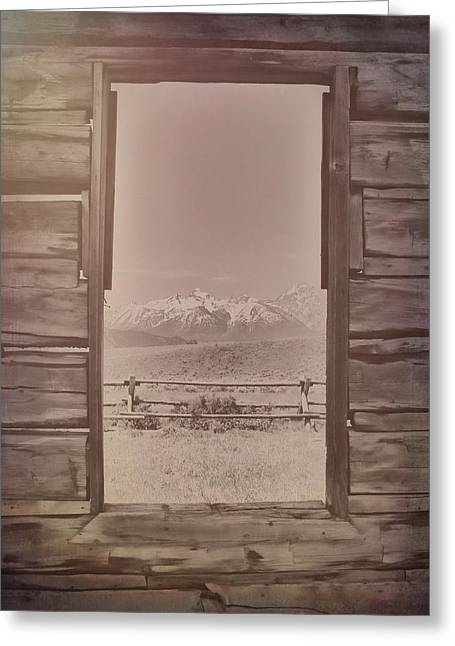 Vintage Cabin Window In Grand Tetons Greeting Card