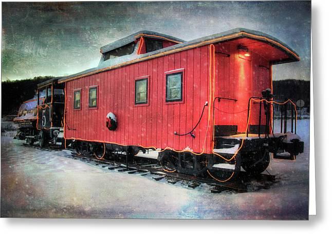 Vintage Caboose - Winter Train Greeting Card by Joann Vitali