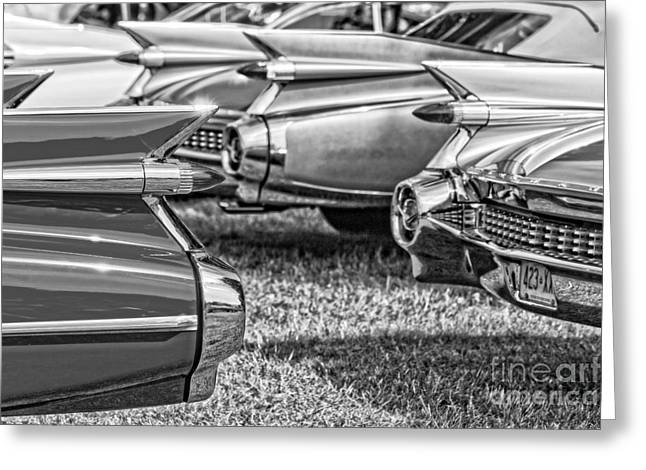 Vintage Cadillac Caddy Fin Party Black And White Greeting Card by Edward Fielding