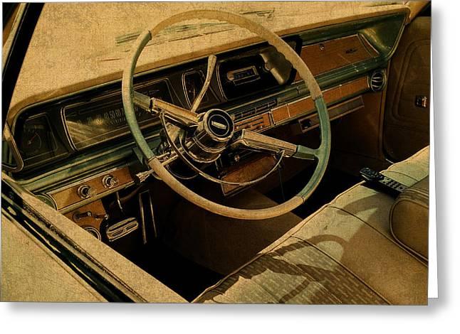 Vintage Cadillac Steering Wheel And Interior Greeting Card