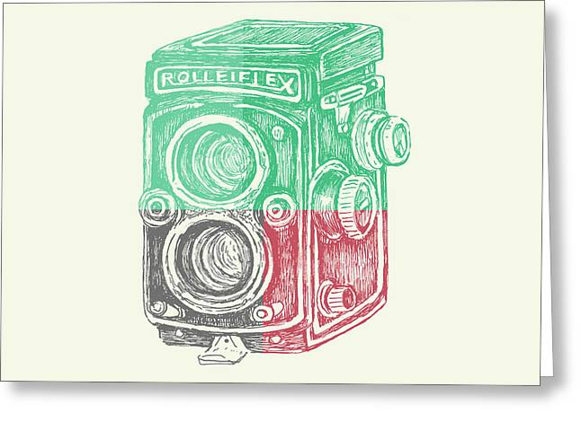 Vintage Camera Color Greeting Card by Brandi Fitzgerald