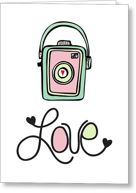 Vintage Camera Love Greeting Card by Colleen VT