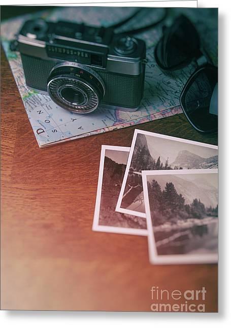 Vintage Camera On Map Greeting Card by Carlos Caetano