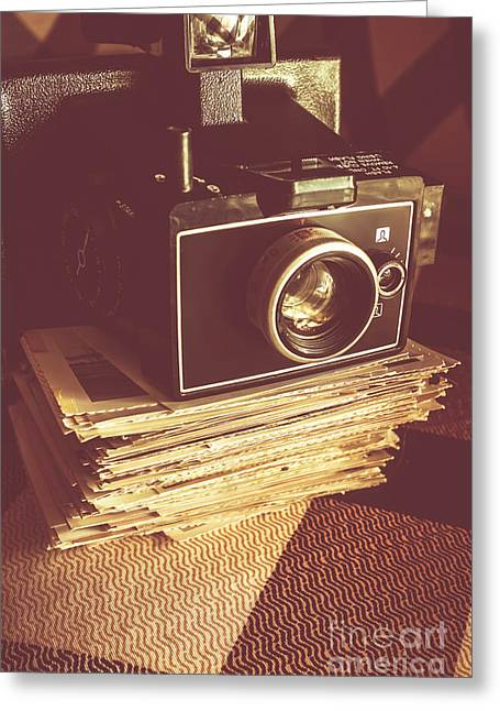 Vintage Camera On Stack Of Instant Photos Greeting Card