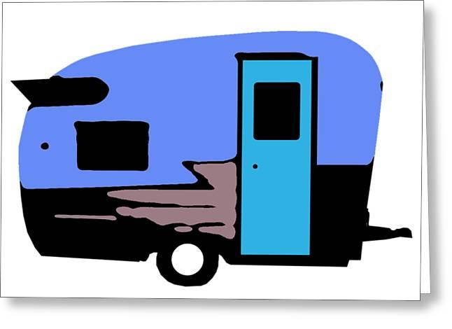 Vintage Camper Trailer Pop Art Blue Greeting Card