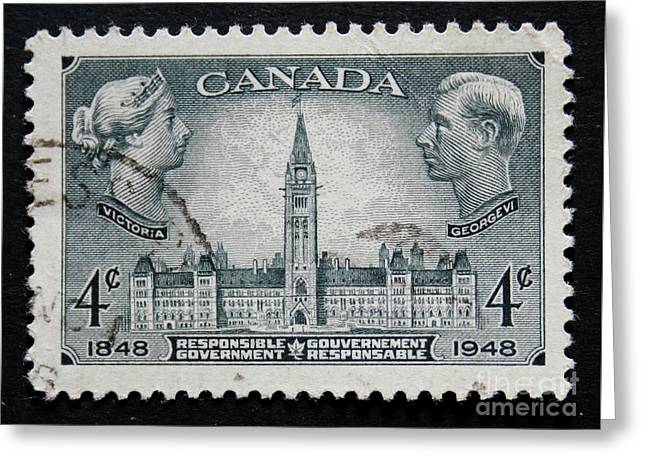 Vintage Canadian Postage Stamp With Victoria And George Greeting Card by Patricia Hofmeester