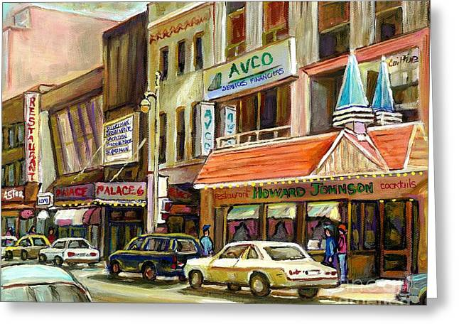 Vintage Canadian Scenes Original Art Downtown Montreal Paintings For Sale Howard Johnson's Resto  Greeting Card