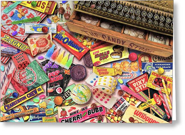 Chewing Greeting Cards - Vintage Candyshop Greeting Card by Aimee Stewart