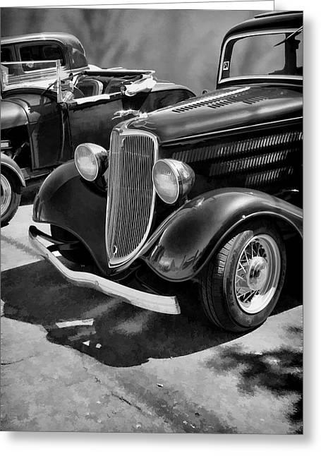 Vintage Car 0161 Bw Art Greeting Card by Lesa Fine