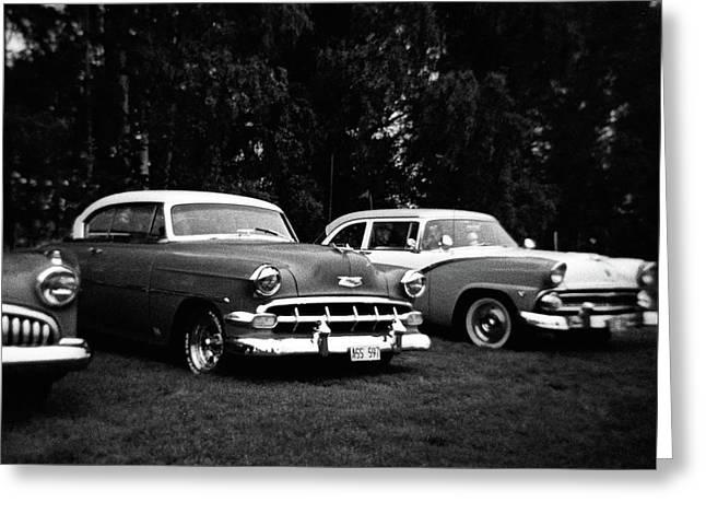 Vintage Car And Holga 120 Greeting Card by Mikael Jenei