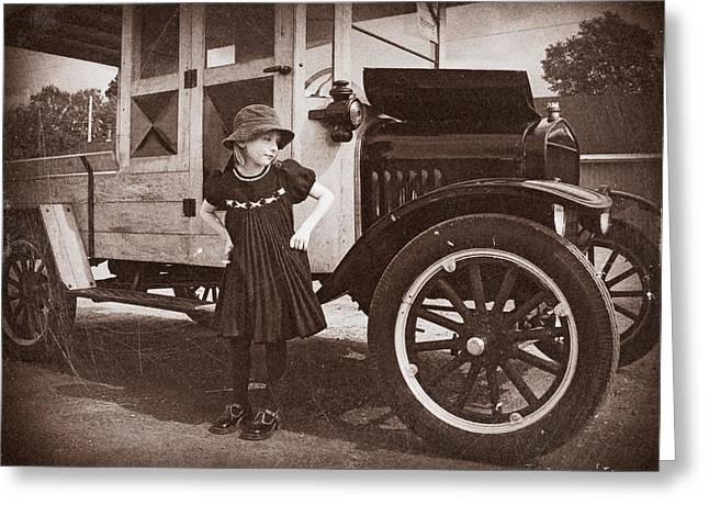 Vintage Car And Old Fashioned Girl Greeting Card by Shawna Mac