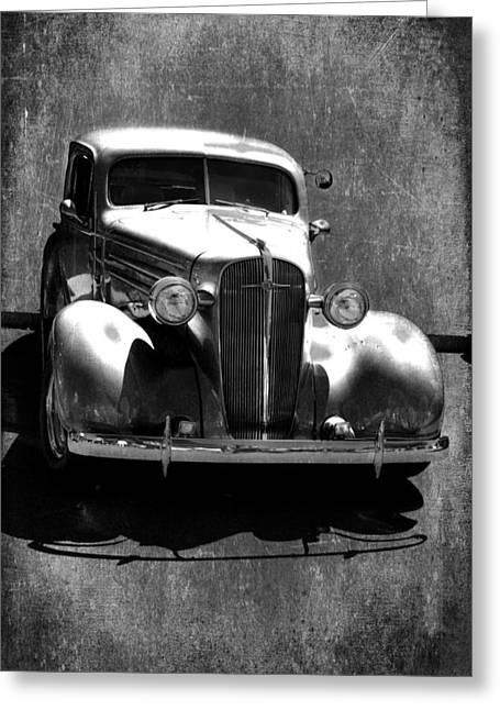 Vintage Car Art 0443 Bw Greeting Card by Lesa Fine