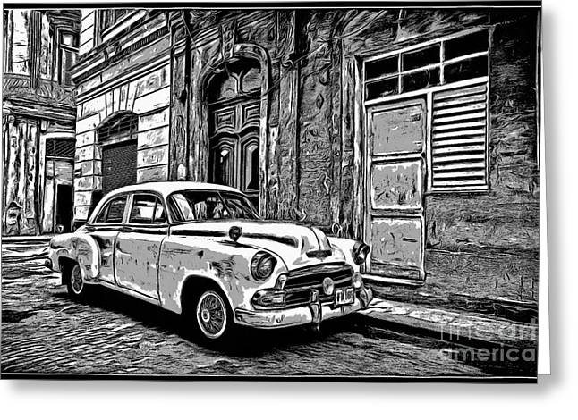 Vintage Car Graphic Novel Style Greeting Card by Edward Fielding