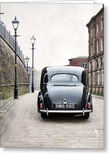 Vintage Car On A Cobbled Street Greeting Card