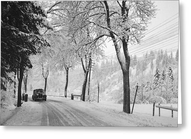 Vintage Car On A Winter Road Greeting Card by German School