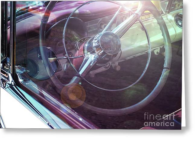 Vintage Car With Sun Reflections Greeting Card