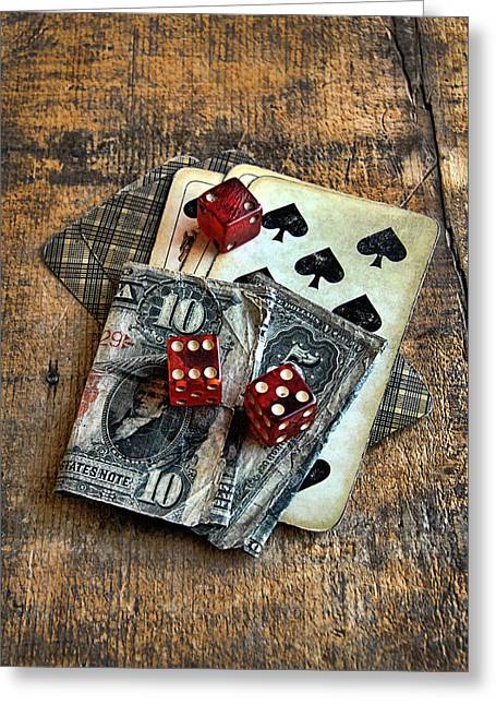 Playing Cards Greeting Cards - Vintage Cards Dice and Cash Greeting Card by Jill Battaglia