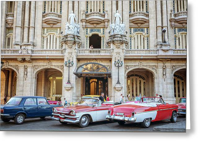 Vintage Cars And The Grand Theatre Havana Cuba Greeting Card