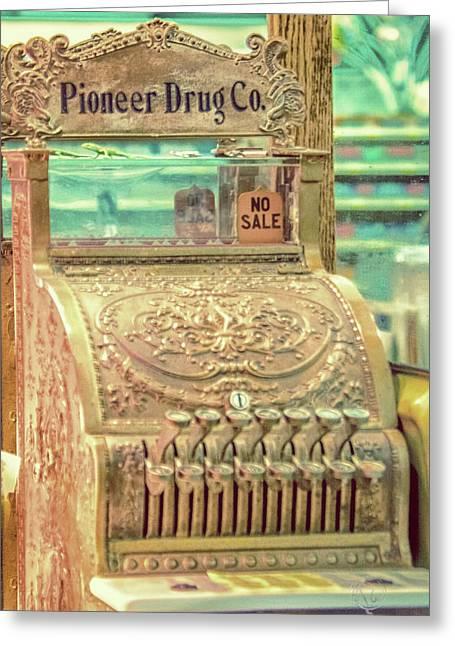 Vintage Cash Register Greeting Card by Pamela Williams