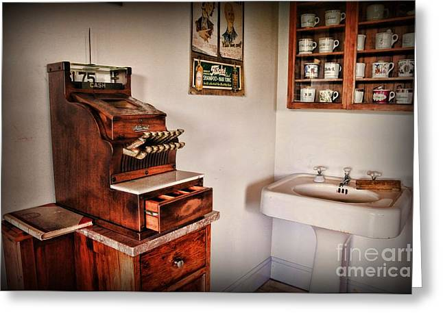 Vintage Cash Register Greeting Card by Paul Ward
