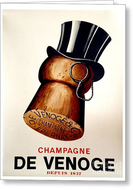 Vintage Champagne Greeting Card by Mindy Sommers
