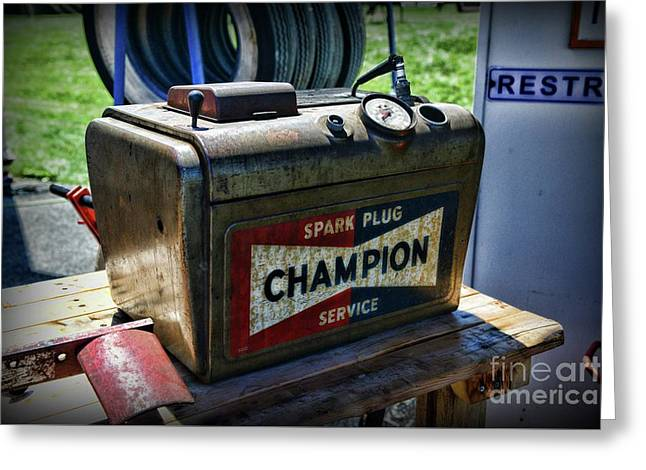 Vintage Champion Spark Plug Cleaner Greeting Card by Paul Ward