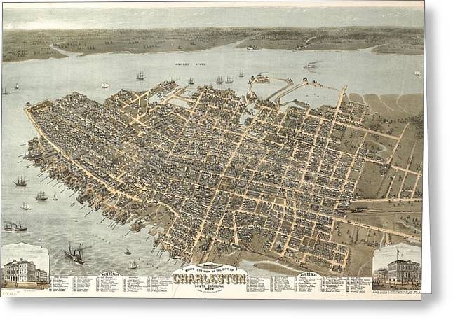 Vintage Charleston South Carolina Map Greeting Card