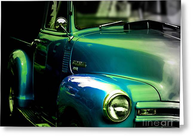 Vintage Chevy 3100 Pickup Truck Side View Greeting Card by Steven  Digman