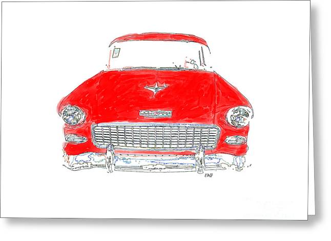 Vintage Chevy Greeting Card by Edward Fielding