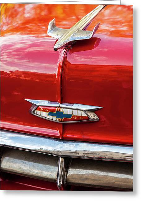 Greeting Card featuring the photograph Vintage Chevy Hood Ornament Havana Cuba by Charles Harden