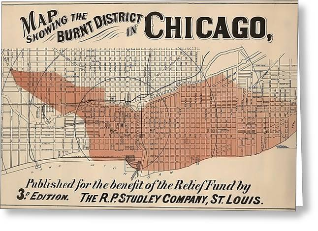 Vintage Chicago Fire Map Greeting Card