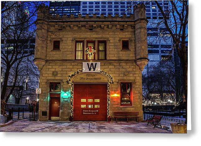 Vintage Chicago Firehouse With Xmas Lights And W Flag Greeting Card